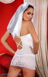 Beauty Night Fashion Sexy Bride Wedding Mini White Dress & Veil Set