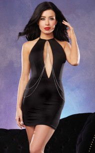 Dreamgirl - 10185 Microfiber Halter Dress With Chain